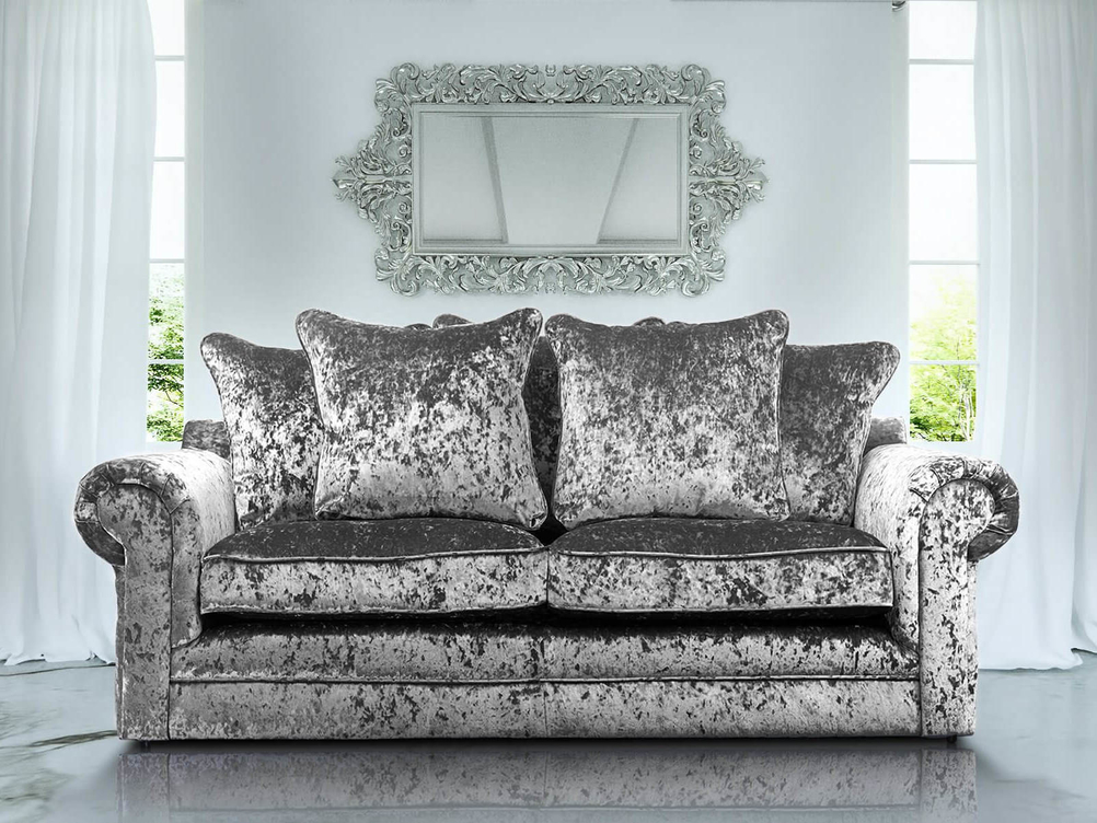 3+2 CHARLOTTE SOFA IN SILVER CRUSHED VELVET