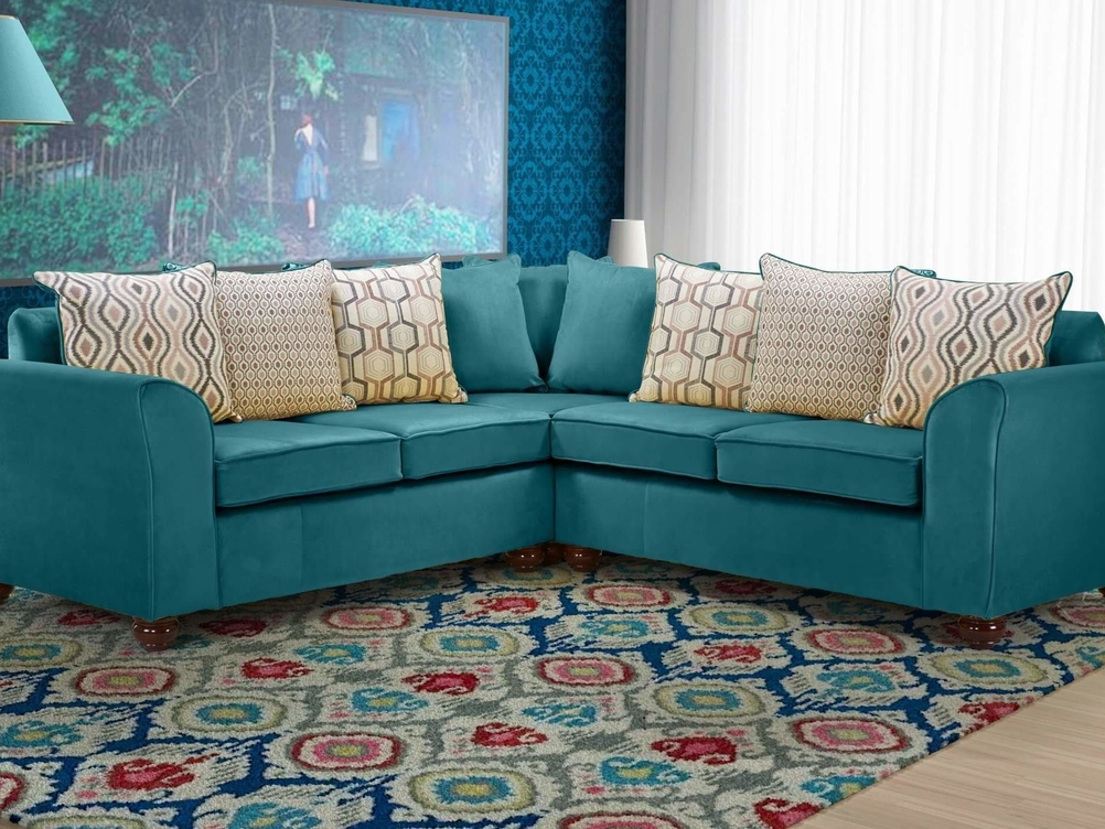 2 CORNER 2 JASPER SOFA IN TEAL PLUSH