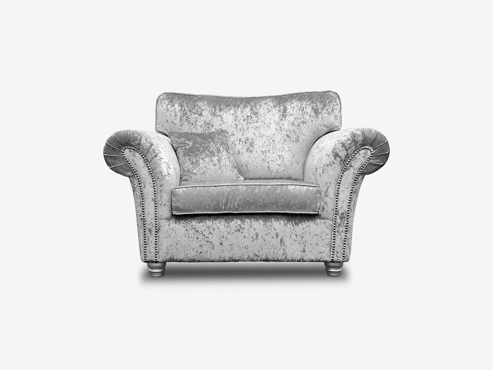 ANNABELLE CUDDLE CHAIR IN SILVER CRUSHED VELVET