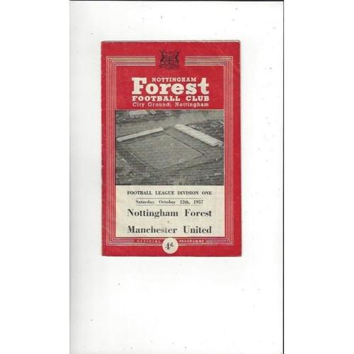 1957/58 Nottingham Forest v Manchester United Football Programmes
