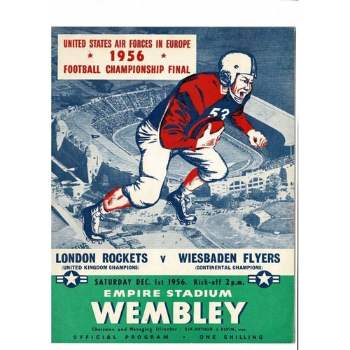 London Rockets v Wiesbaden Flyers American Football Programme 1956