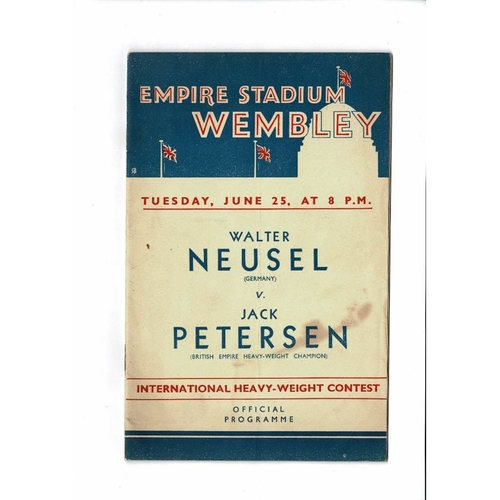 1935 Walter Neusel v Jack Petersen Heavyweight Boxing Programme @ Wembley