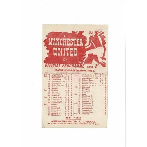1945/46 Manchester United v Blackpool Football Programme