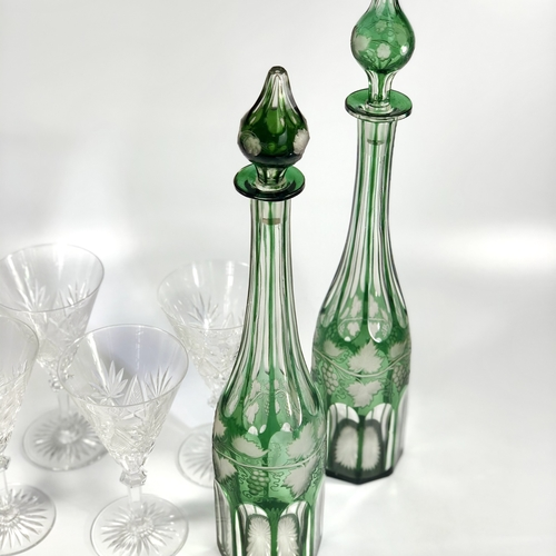 Excellent pair of 19th Century cut to clear decanters