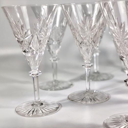 10 Val Saint Lambert Eurydice crystal wine glasses
