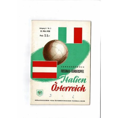 Austria v Italy Football Programme 1958 + 2 Inserts