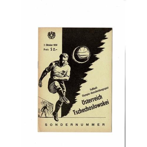 Austria v Czechoslovakia Football Programme 1959