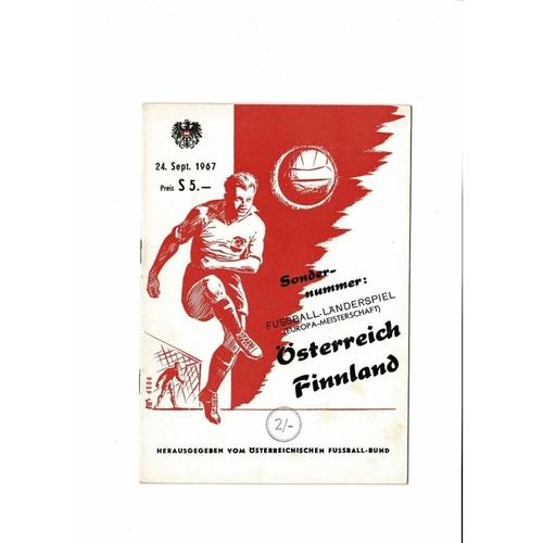 Austria v Finland Football Programme 1967