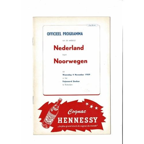Holland v Norway Football Programme 1959