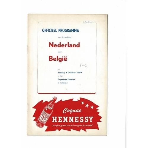 Holland v Belgium Football Programme 1959