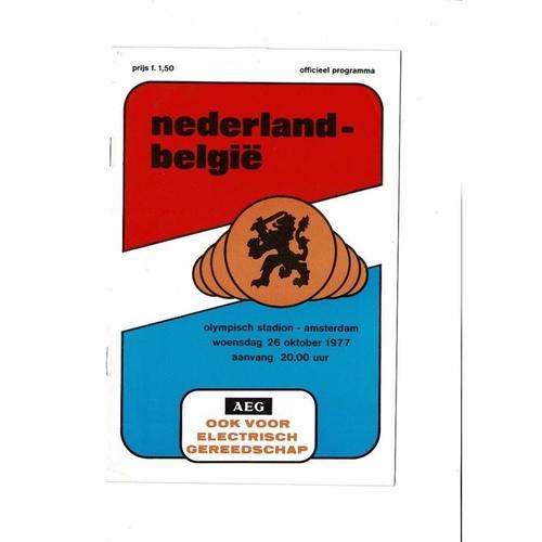 Holland v Belgium Football Programme 1977