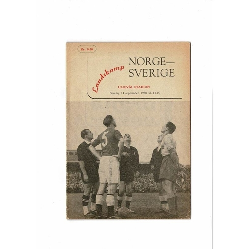 Norway v Sweden Football Programme 1958