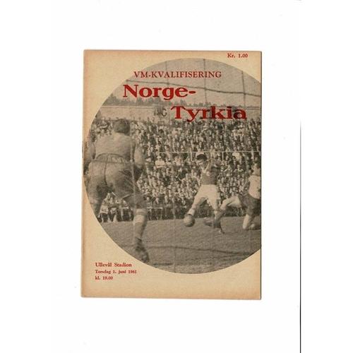 Norway v Turkey Football Programme 1961