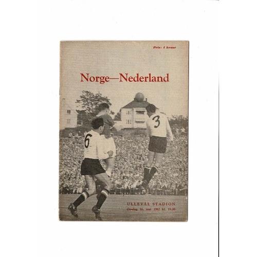 Norway v Holland Football Programme 1962