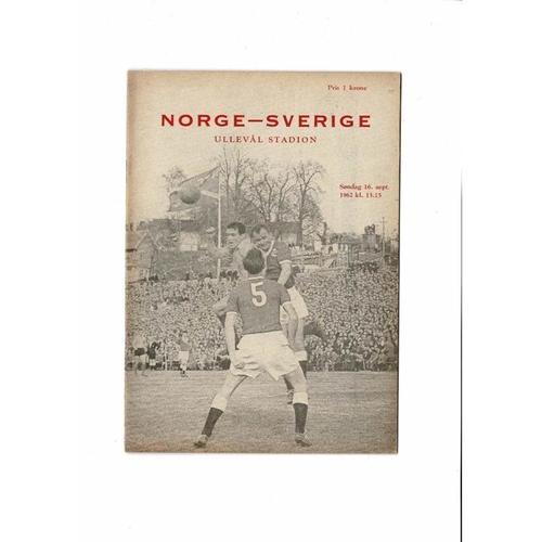Norway v Sweden Football Programme 1962