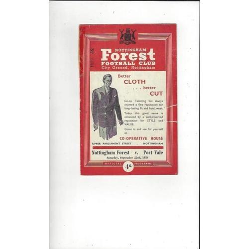 1956/57 Nottingham Forest v Port Vale Football Programme