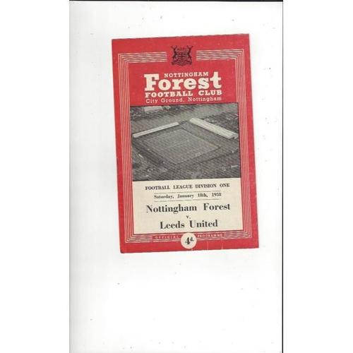 1957/58 Nottingham Forest v Leeds United Football Programme