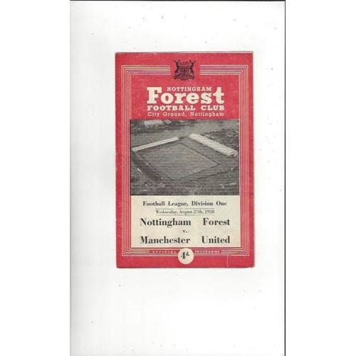 1958/59 Nottingham Forest v Manchester United Football Programme