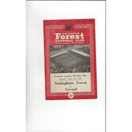 1958/59 Nottingham Forest v Arsenal Football Programme
