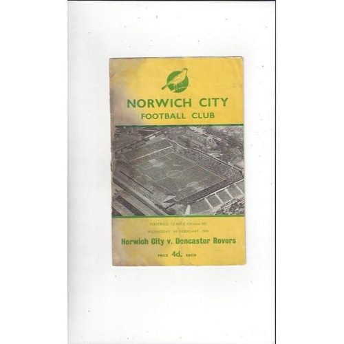 1958/59 Norwich City v Doncaster Rovers Football Programme