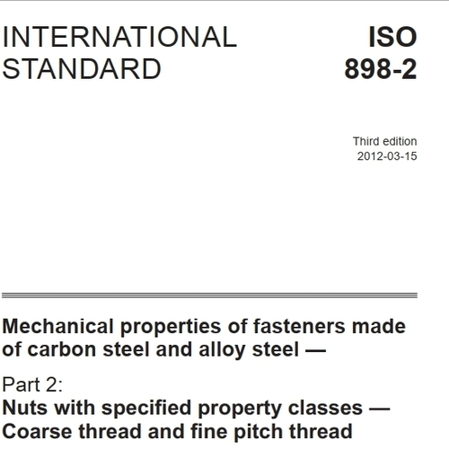 ISO 898-2:2001 Fastener Grades by Specification
