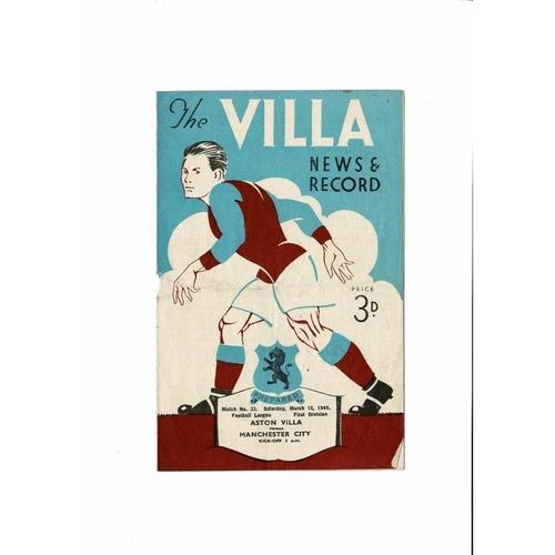 1948/49 Aston Villa v Manchester City Football Programme