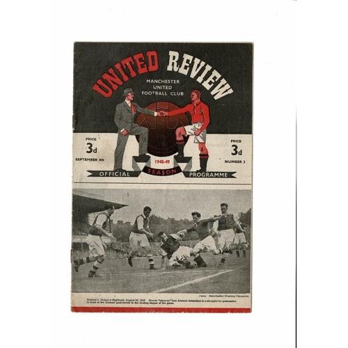 1948/49 Manchester United v Huddersfield Town Football Programme