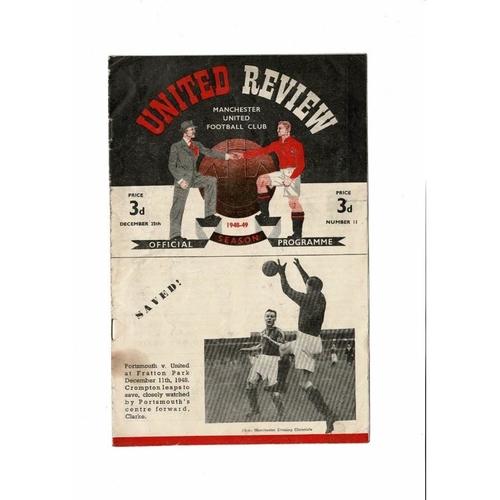 1948/49 Manchester United v Liverpool Football Programme
