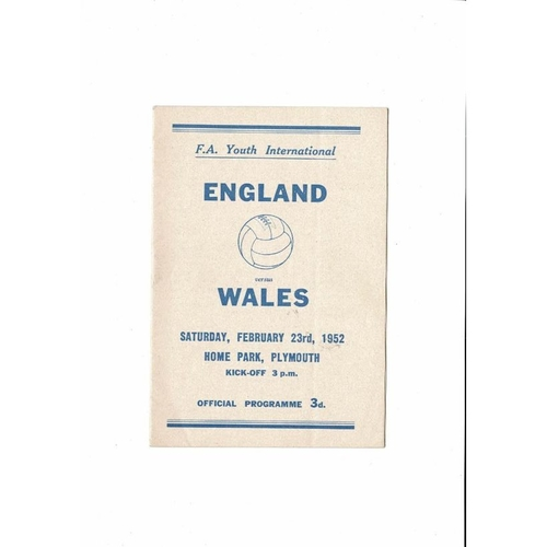 1952 England v Wales Youth International Football Programme