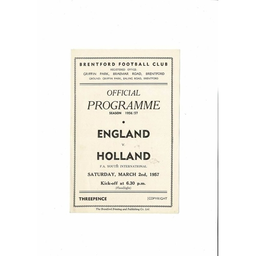 1957 England v Holland Youth International Football Programme