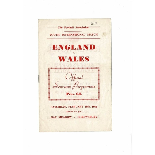 1956 England v Wales Youth International Football Programme