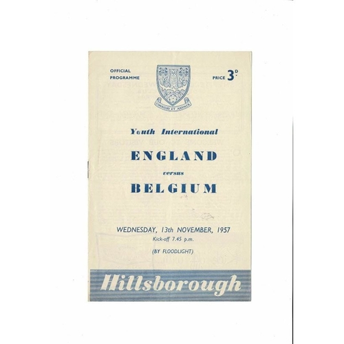 1957 England v Belgium Youth International Football Programme