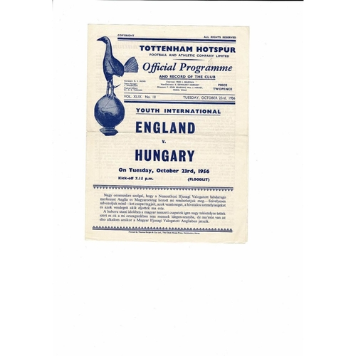 1956 England v Hungary Youth International Football Programme Oct 23rd