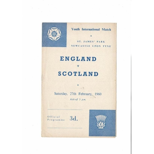 1960 England v Scotland Youth International Football Programme