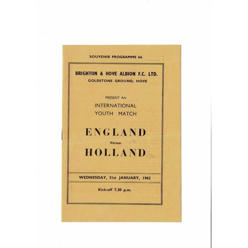 1962 England v Holland Youth International Football Programme