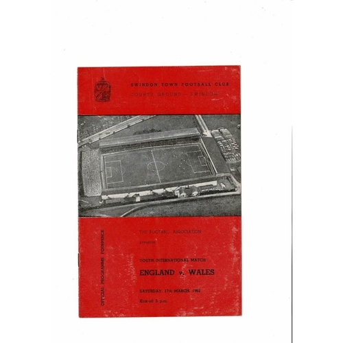 1962 England v Wales Youth International Football Programme