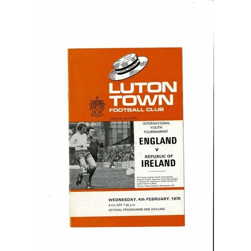 1970 England v Republic of Ireland Youth International Football Programme