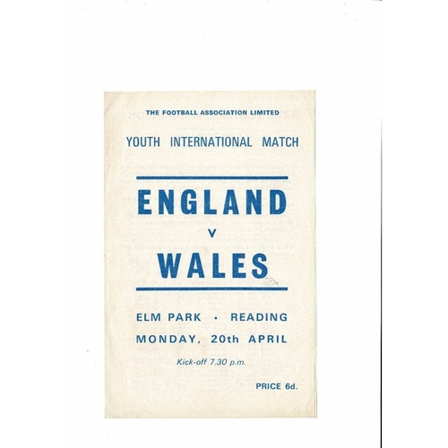 1970 England v Wales Youth International Football Programme April