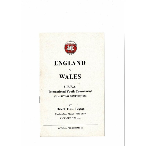 1970 England v Wales Youth International Football Programme March