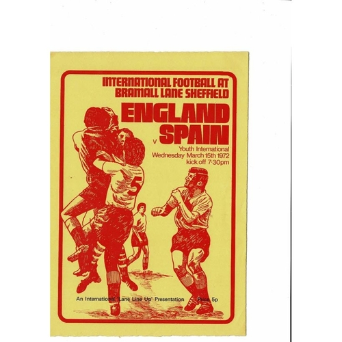 1972 England v Spain Youth International Football Programme