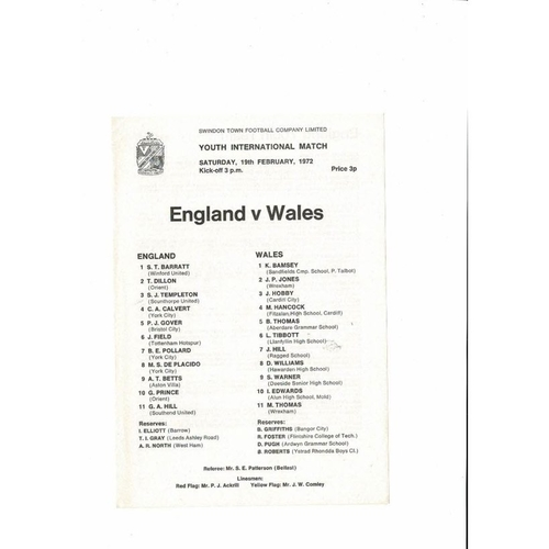 1972 England v Wales Youth International Football Programme