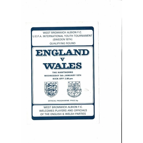 1974 England v Wales Youth International Football Programme Jan