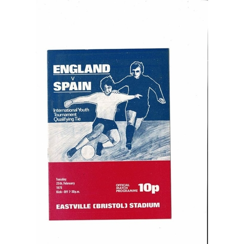 1975 England v Spain Youth International Football Programme