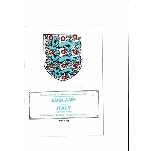 1979 England v Italy Youth International Football Programme