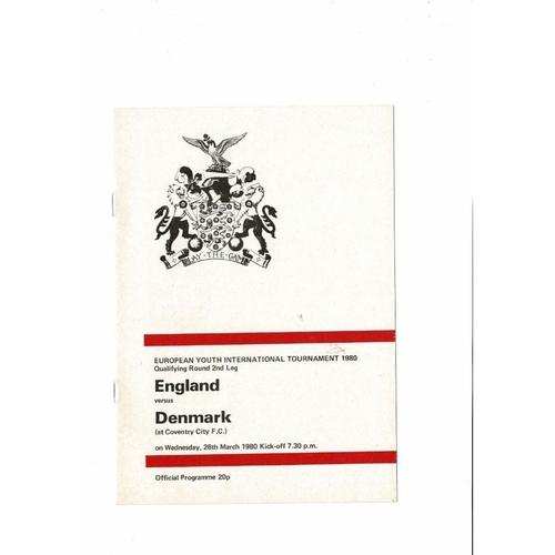1980 England v Denmark Youth International Football Programme