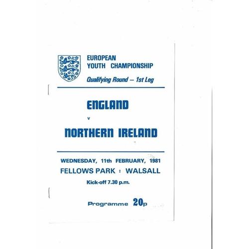 1981 England v Northern Ireland Youth International Football Programme