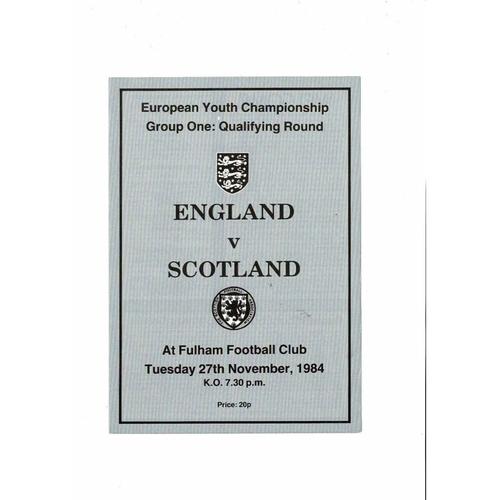 1984 England v Scotland Youth International Football Programme