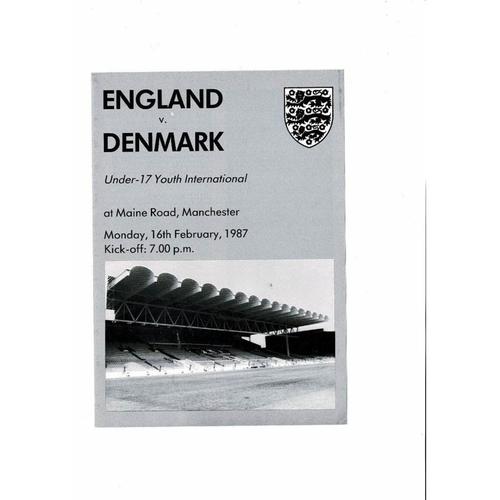 1987 England v Denmark Youth International Football Programme