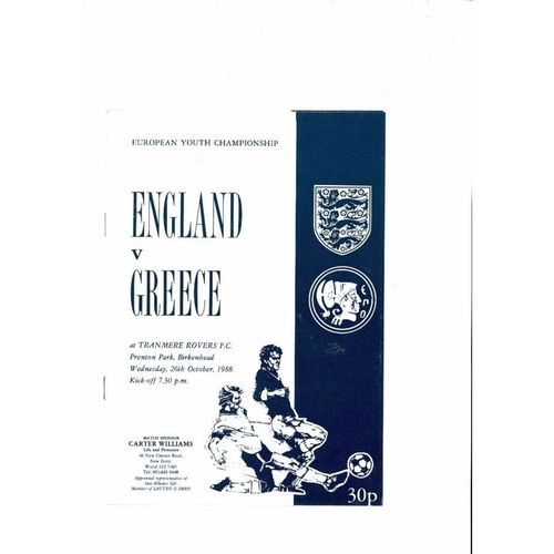 1988 England v Greece Youth International Football Programme