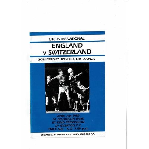 1989 England v Switzerland Youth International Football Programme